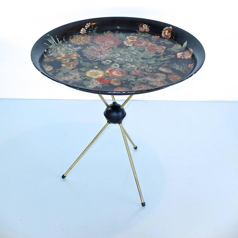 "Pietro Fornasetti ""Fiori"" Round Tole Tray on Tripod Table 2"