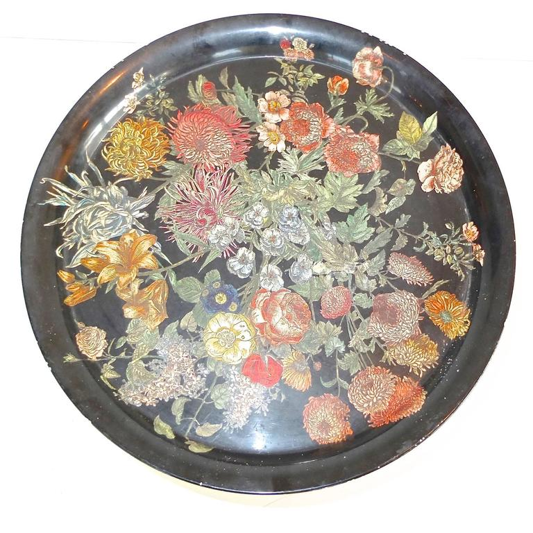 "Pietro Fornasetti ""Fiori"" Round Tole Tray on Tripod Table 7"