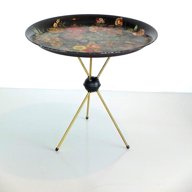 "Pietro Fornasetti ""Fiori"" Round Tole Tray on Tripod Table 8"