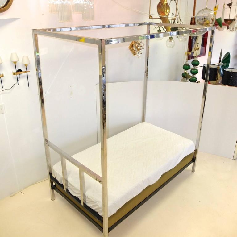 Pace Collection Chrome Four Poster Canopy Single Twin Bed In Excellent Condition For Sale In Hingham, MA