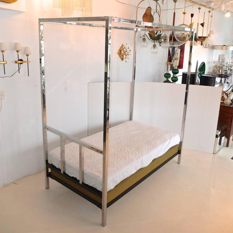 Mid-20th Century Pace Collection Chrome Four Poster Canopy Single Twin Bed For Sale
