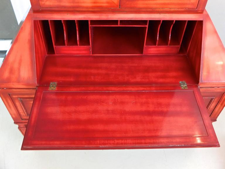 James Mont Cinnabar Lacquered Secretaire In Good Condition For Sale In Hingham, MA