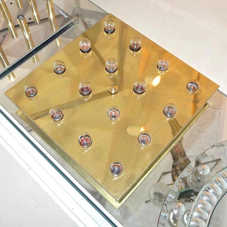 Square Brass Lightolier Flush Mount Ceiling Light 4