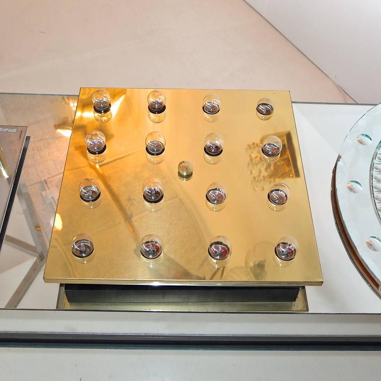 Square Brass Lightolier Flush Mount Ceiling Light 6