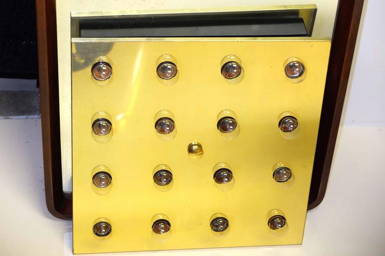 Square Brass Lightolier Flush Mount Ceiling Light 9