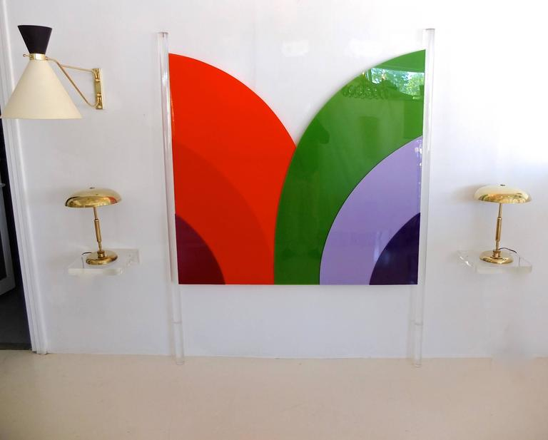 Frank Stella Style Lucite Headboard, Queen/Full 2