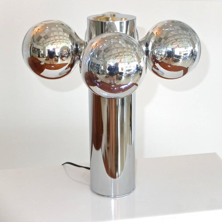Chrome Cylinder Lamp With Four Chrome Silvered Glass Globe