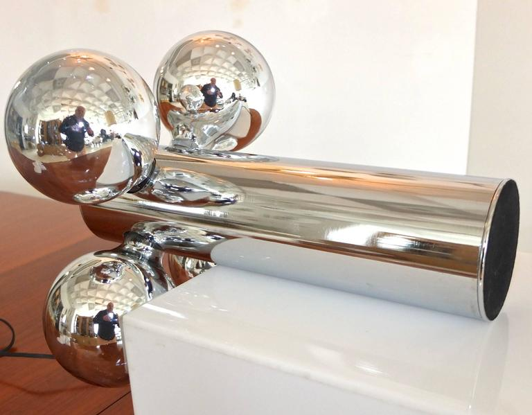 Chrome Cylinder Lamp with Four Chrome Silvered Glass Globe Bulbs, 1970s  5
