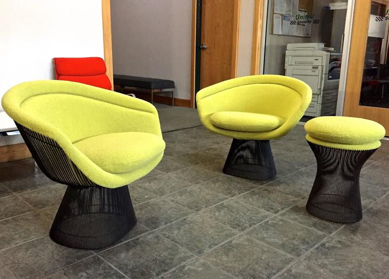 Warren Platner Bronze Lounge Chairs and Stool in Classic Boucle Chartreuse, Pair 2