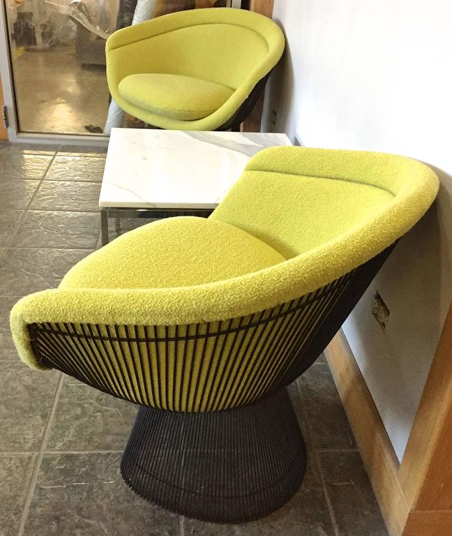 American Warren Platner Bronze Lounge Chairs and Stool in Classic Boucle Chartreuse, Pair For Sale