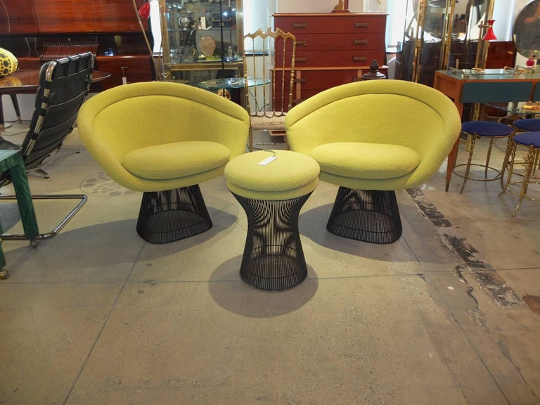 Warren Platner Bronze Lounge Chairs and Stool in Classic Boucle Chartreuse, Pair 9