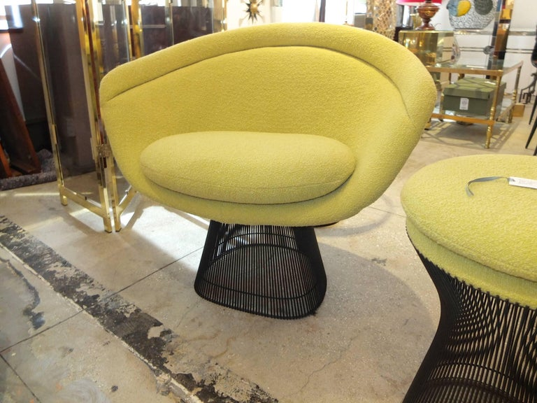 Warren Platner Bronze Lounge Chairs and Stool in Classic Boucle Chartreuse, Pair 10