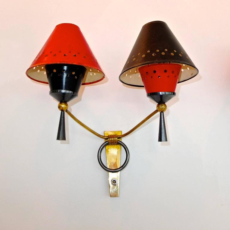 Pair of Maison Lunel Double Arm Sconces with Original Abat Jour 4