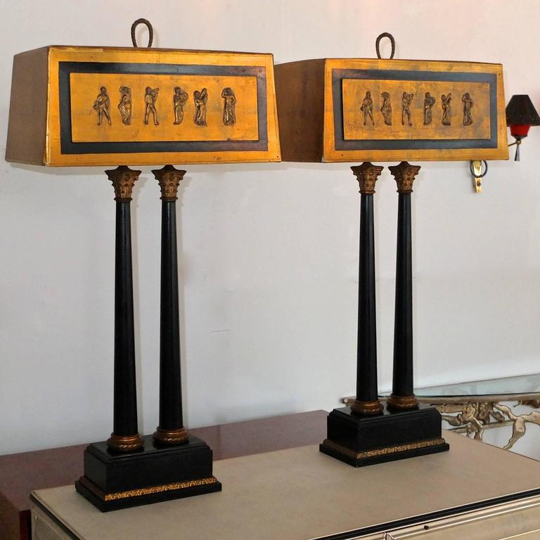 Pair of 1950s Camp Classical Double Column Lamps with Embellished Shades 4