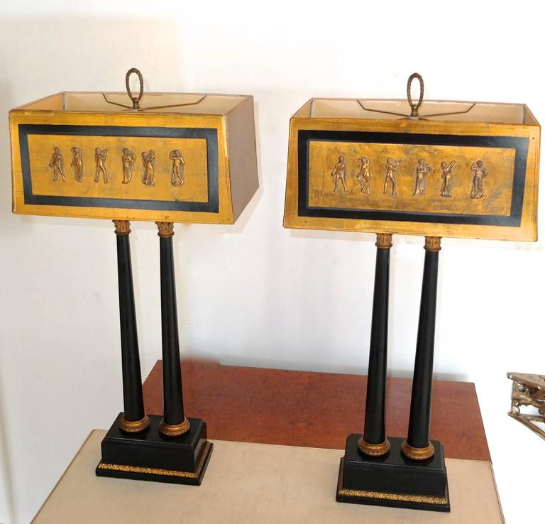 Pair of 1950s Camp Classical Double Column Lamps with Embellished Shades 8