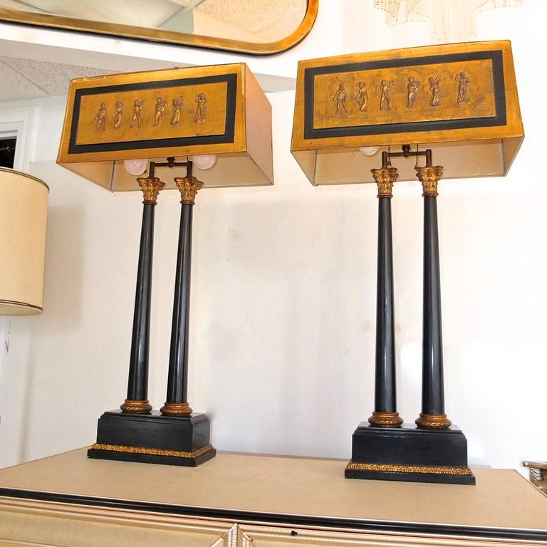Pair of 1950s Camp Classical Double Column Lamps with Embellished Shades 9