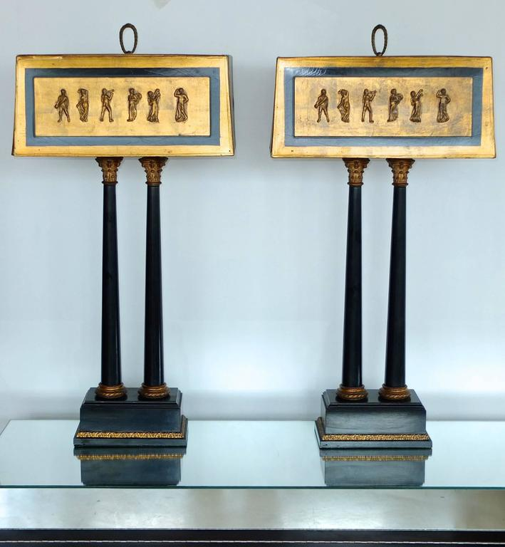 Pair of 1950s Camp Classical Double Column Lamps with Embellished Shades 2