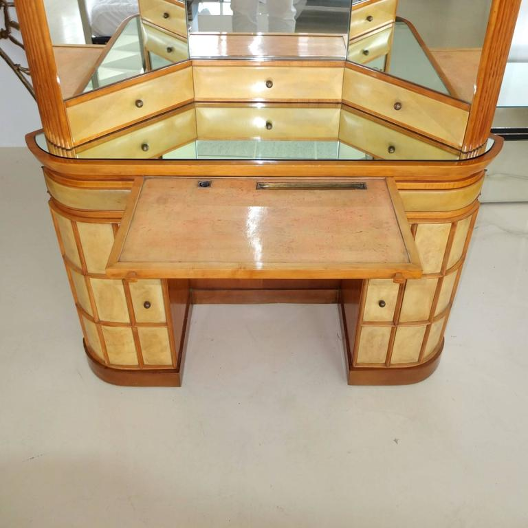 Italian Art Deco Secretary Vanity Dressing Table Attributed to Paolo Buffa For Sale 1