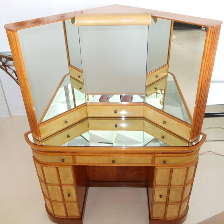 Lacquered Italian Art Deco Secretary Vanity Dressing Table Attributed to Paolo Buffa For Sale