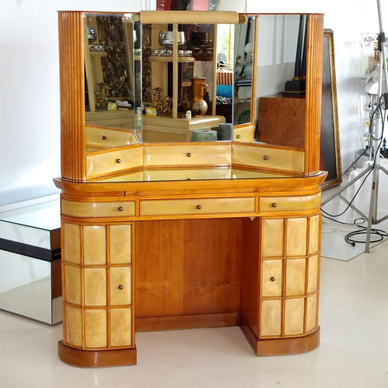 Italian Art Deco Secretary Vanity Dressing Table Attributed to Paolo Buffa For Sale 6