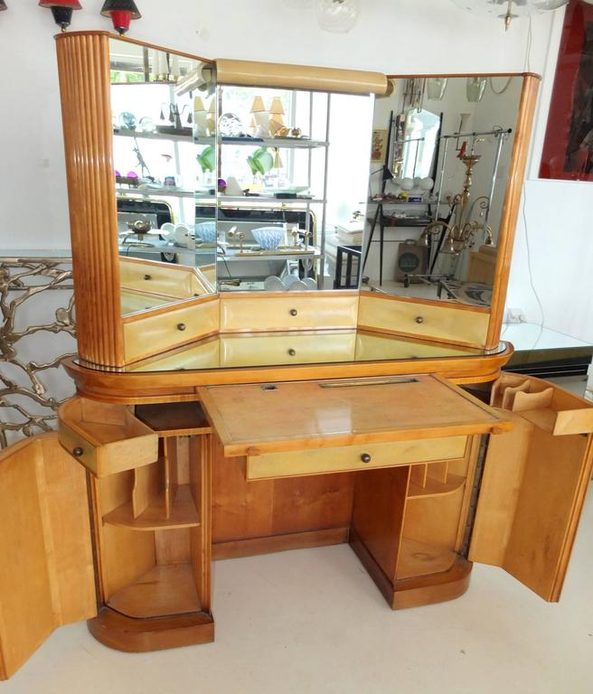 Mid-20th Century Italian Art Deco Secretary Vanity Dressing Table Attributed to Paolo Buffa For Sale