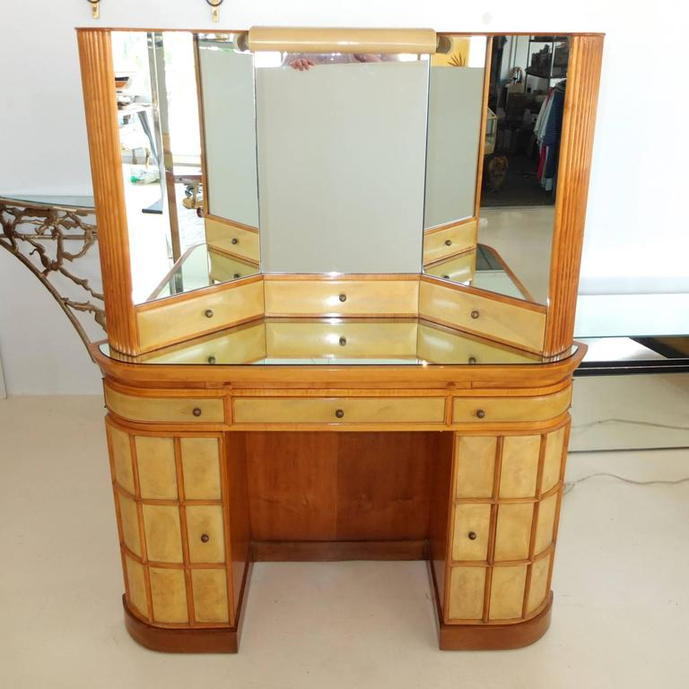 Italian Art Deco Secretary Vanity Dressing Table Attributed to Paolo Buffa For Sale 7