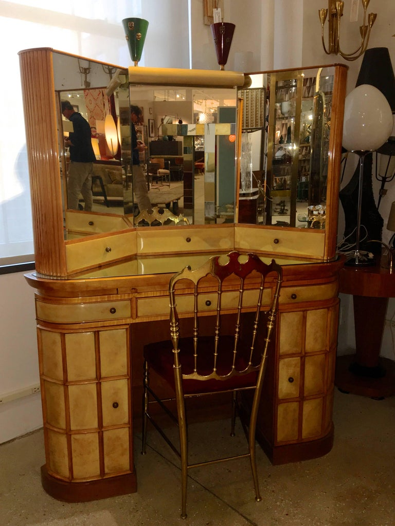 Parchment Paper Italian Art Deco Secretary Vanity Dressing Table Attributed to Paolo Buffa For Sale