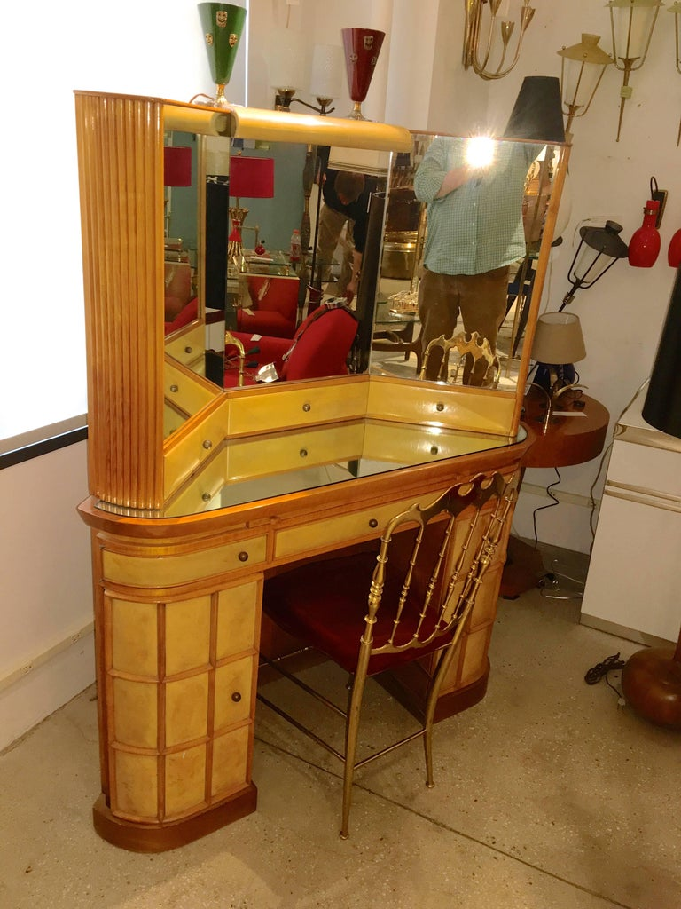 Italian Art Deco Secretary Vanity Dressing Table Attributed to Paolo Buffa For Sale 3