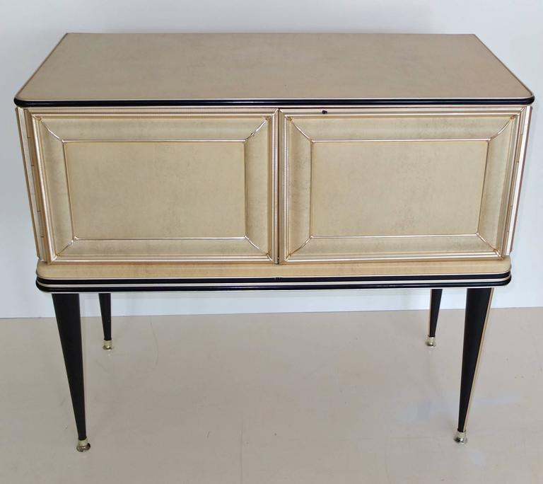 Mid-Century Modern Umberto Mascagni Two-Door Bar Cabinet Sideboard For Sale