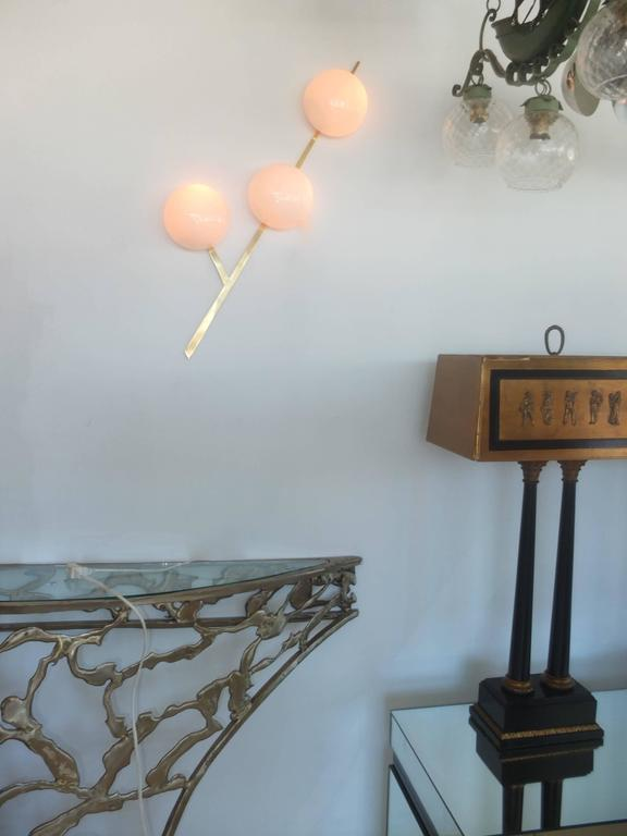 1950s French Brass Y-Form Wall Sconce by Royal Lumieres for Lunel 2