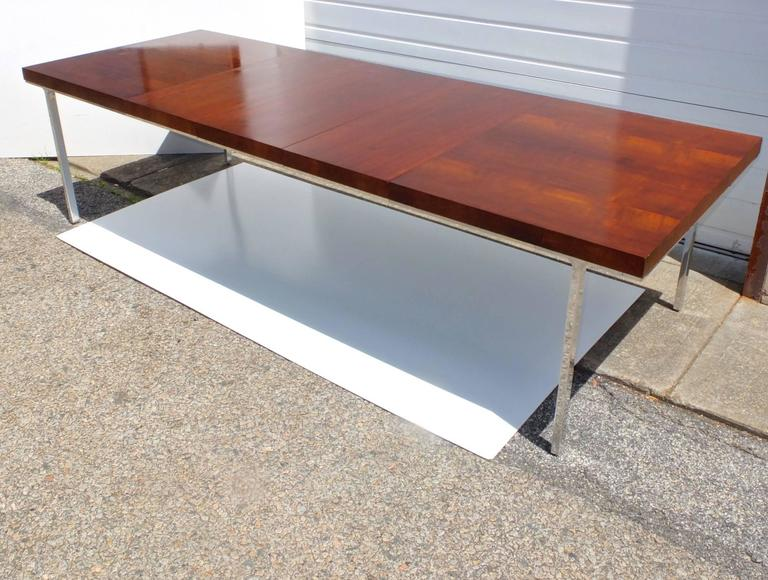 John Stuart Flame Mahogany Dining Table with Polished Aluminum Legs 2