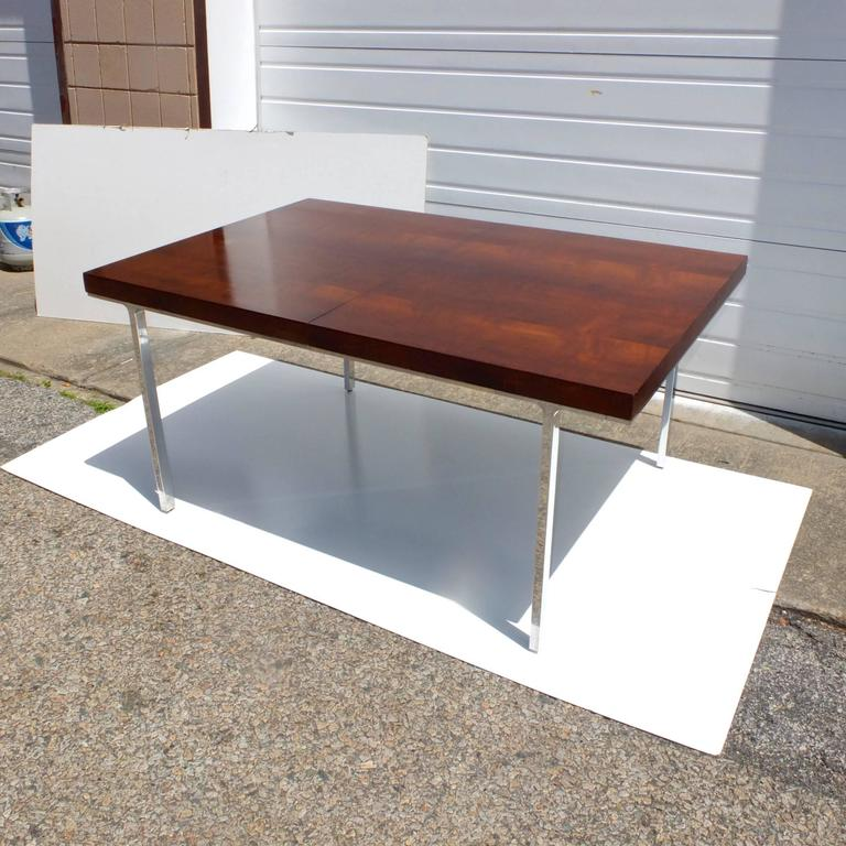 John Stuart Flame Mahogany Dining Table with Polished Aluminum Legs 8