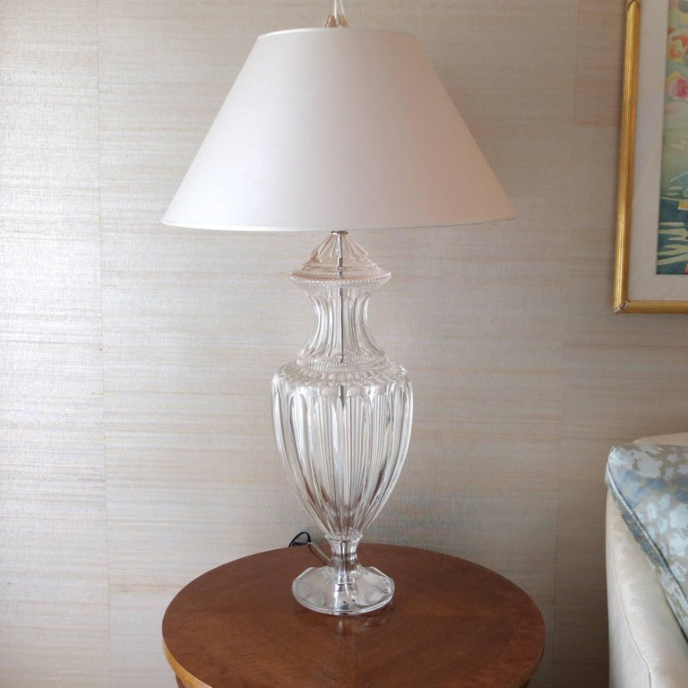 Pair of Baccarat Form Crystal Lamps 3