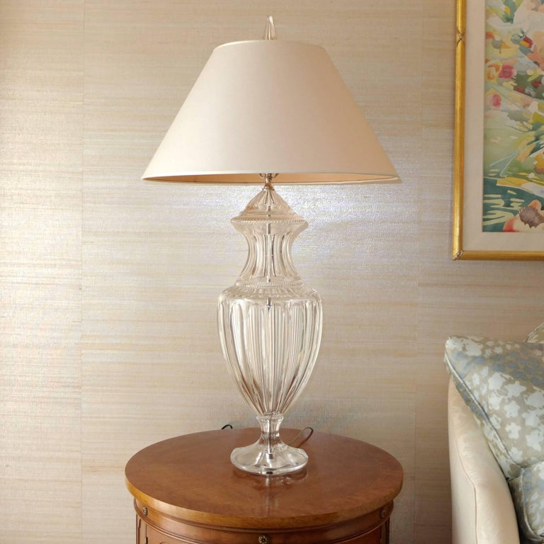 Pair of Baccarat Form Crystal Lamps 6