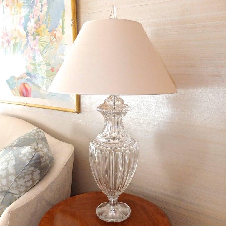 Pair of Baccarat Form Crystal Lamps 8