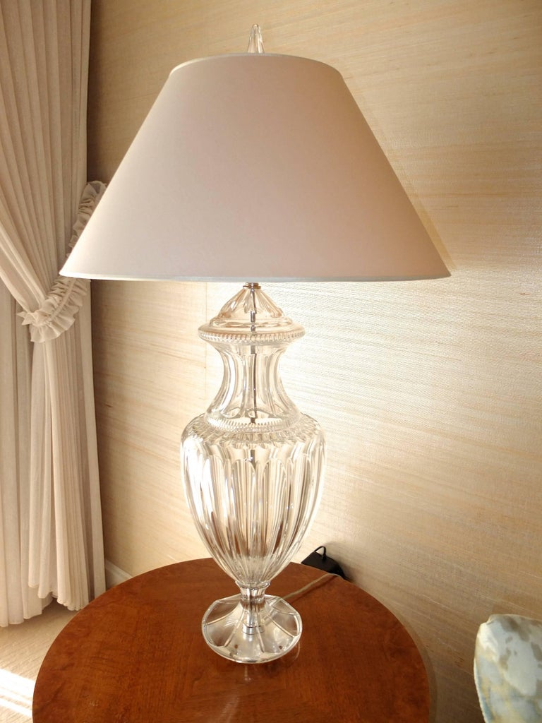 Pair of Baccarat Form Crystal Lamps 9