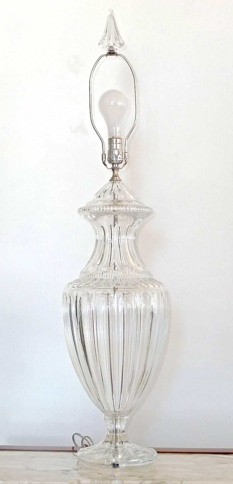 Pair of Baccarat Form Crystal Lamps 2