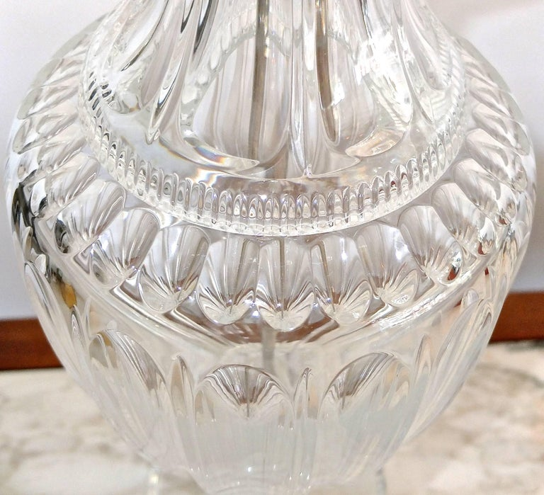 Pair of Baccarat Form Crystal Lamps 4
