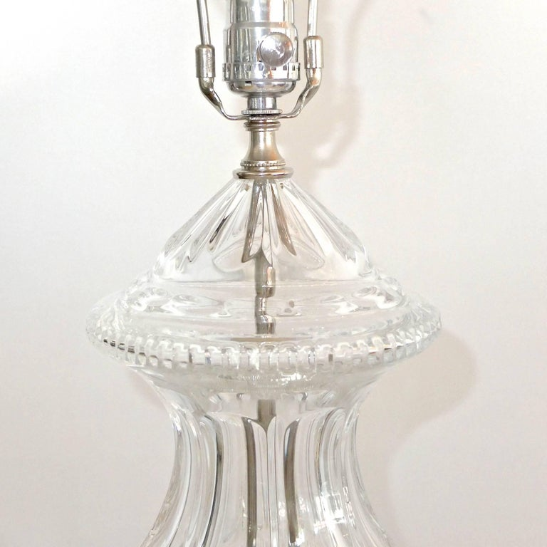Pair of Baccarat Form Crystal Lamps 5