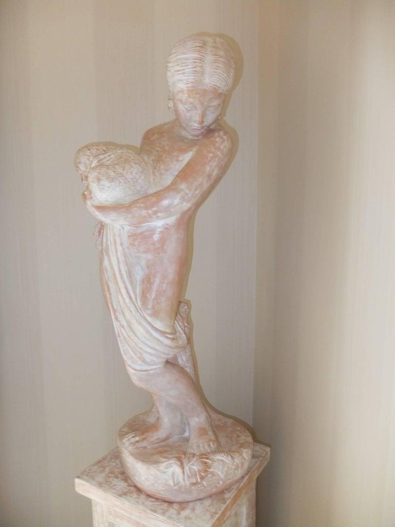 Italian Terracotta Statue of Woman on Plinth For Sale