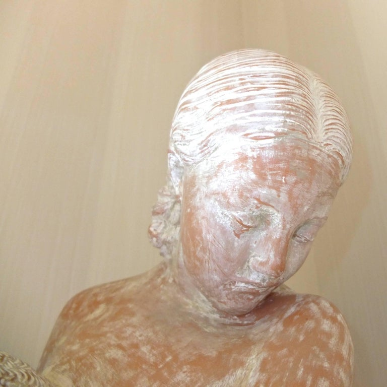 Terracotta Statue of Woman on Plinth For Sale 2
