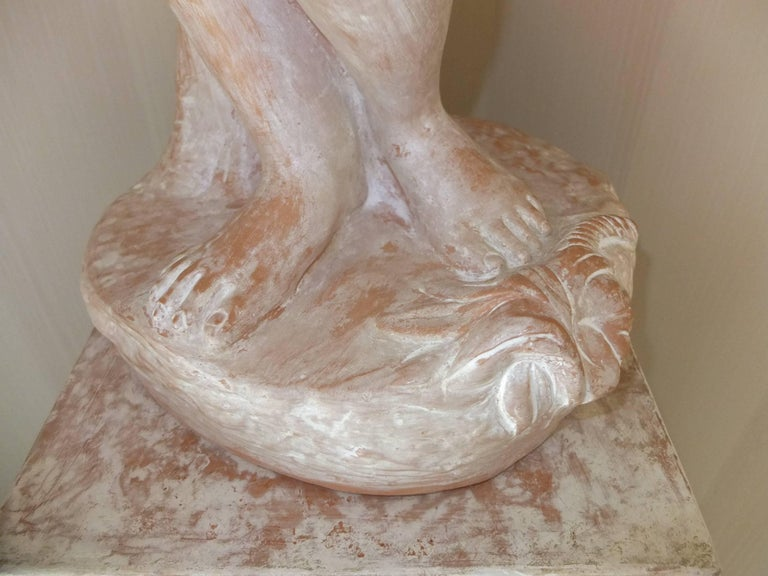 Terracotta Statue of Woman on Plinth For Sale 4