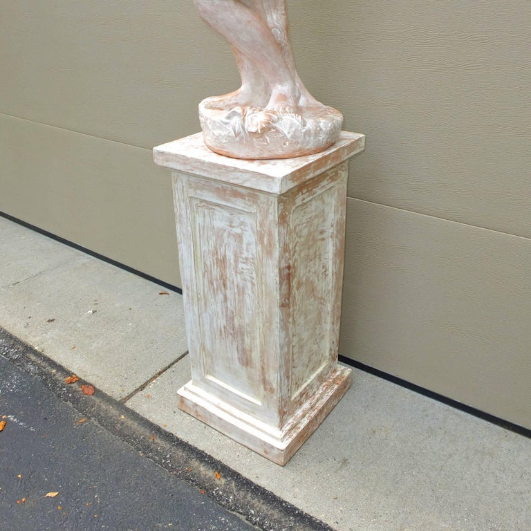 Terracotta Statue of Woman on Plinth In Excellent Condition For Sale In Hingham, MA