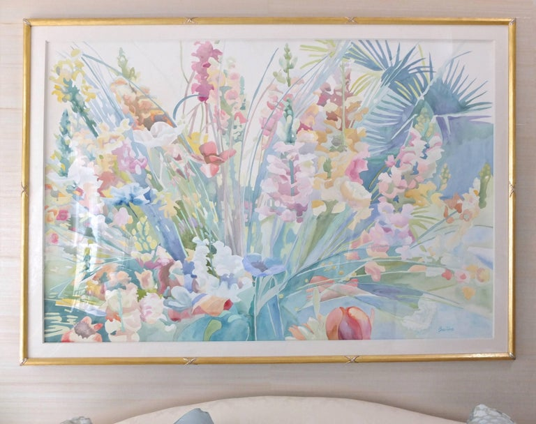 Large-scale framed watercolor on paper by Linda Bastian titled