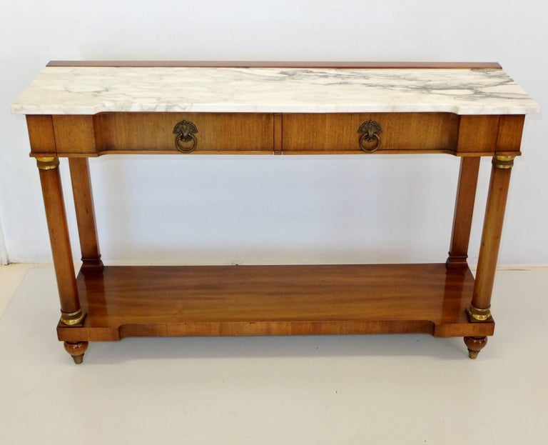 John Widdicomb Empire Style Console Table with Marble Top In Excellent Condition For Sale In Hingham, MA