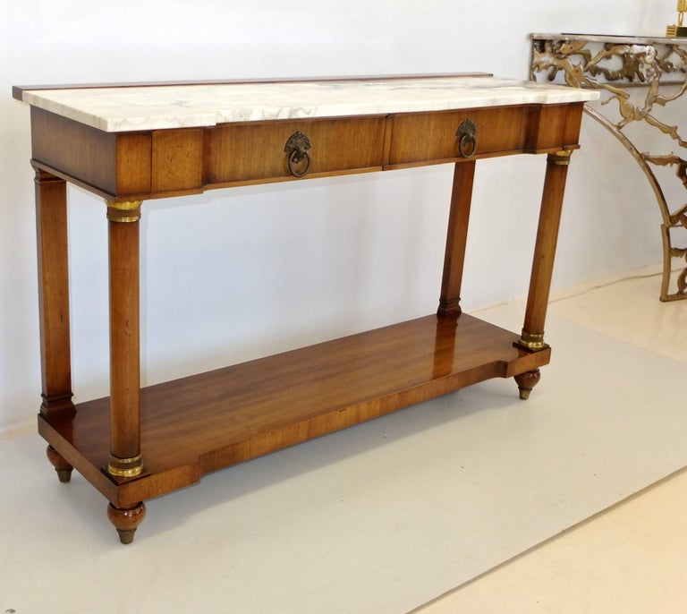 Mid-20th Century John Widdicomb Empire Style Console Table with Marble Top For Sale