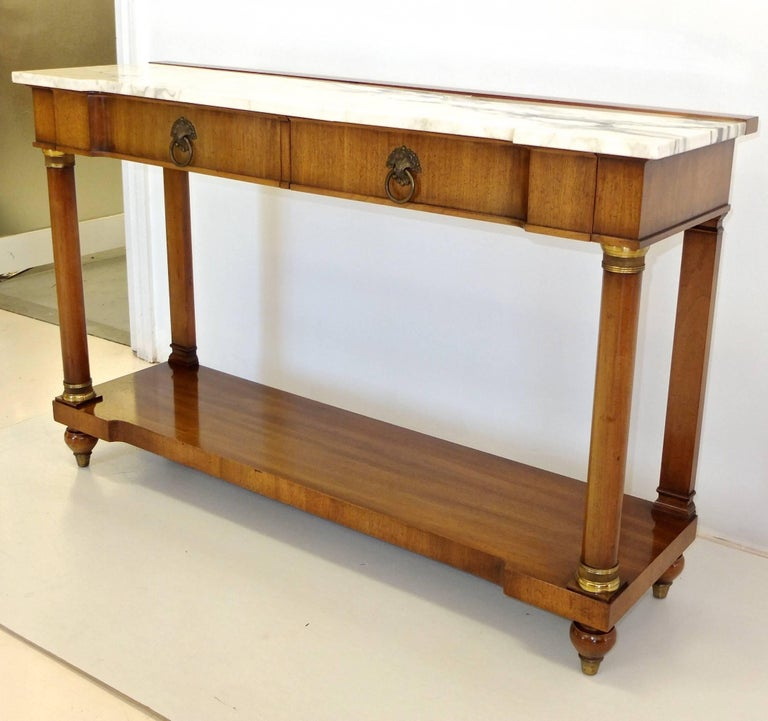 John Widdicomb Empire Style Console Table with Marble Top 6