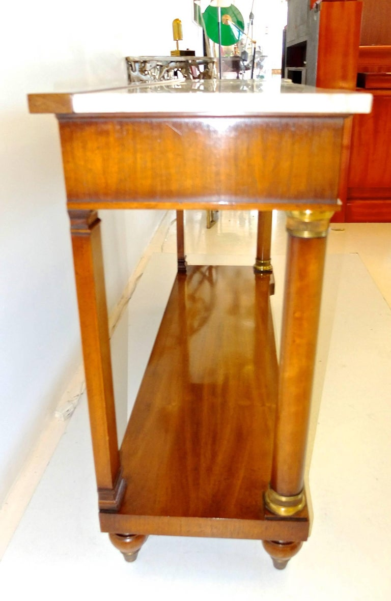 John Widdicomb Empire Style Console Table with Marble Top 7