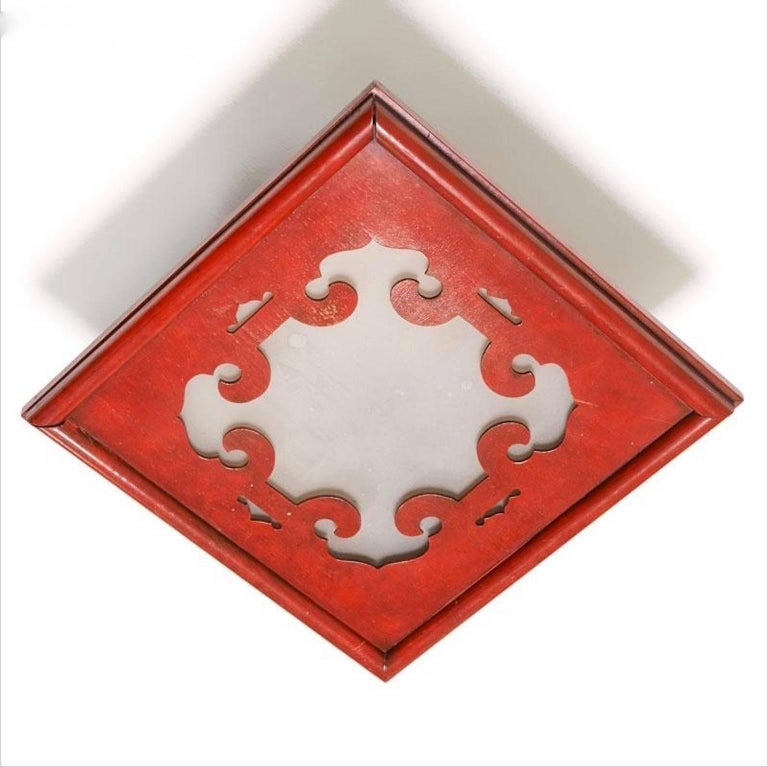 James Mont Cinnabar Lacquered Flush Mount Ceiling Light 5