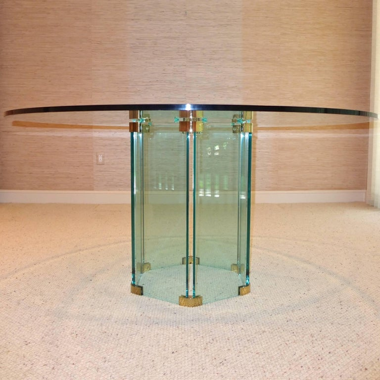 Pace Collection Round Dining Table Hexagonal Glass and Brass Base 3